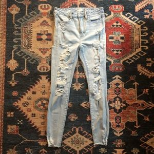 AE High Waisted Ripped Super Skinny Jeans — Size 6